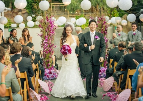 An outdoor wedding in Orange County on the terrace of Seven-Degrees in Laguna Beach, the premiere event venue